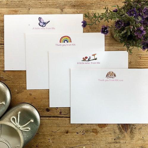 Girls bespoke luxury personalised luxury notecards, custom cards for little girl