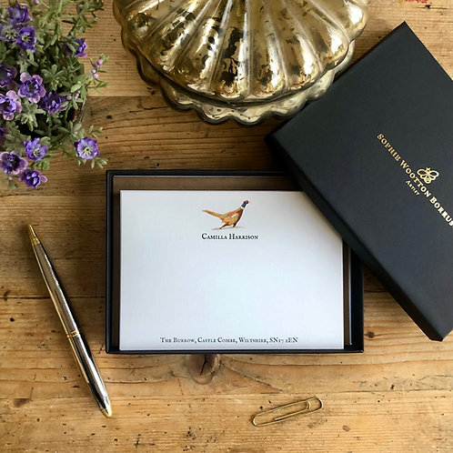 Fox and pheasant luxury personalised note cards