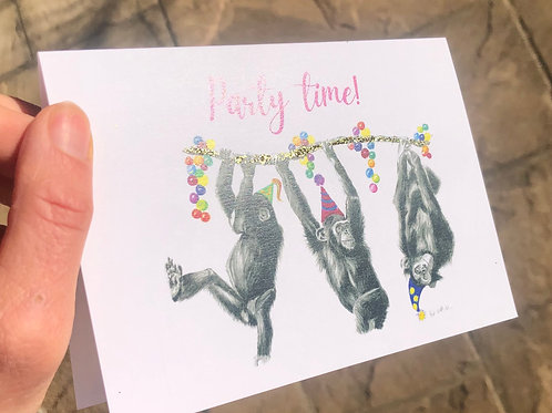 'Party time' chimps greeting card