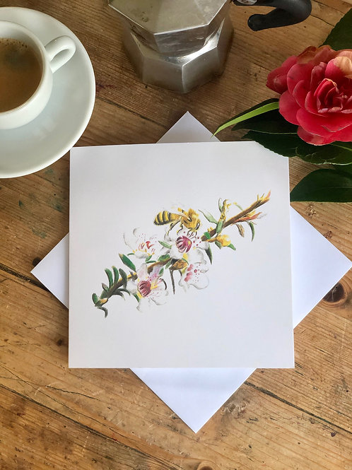Greeting card: The Dance of the Manuka bee