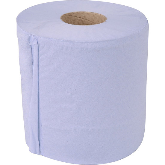 Embossed 2 ply budget  blue centrefeed