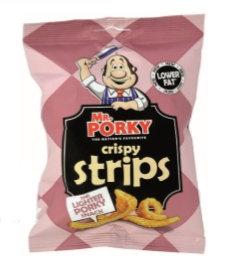 Mr Porky Crispy Strips, sliced pork shoulder