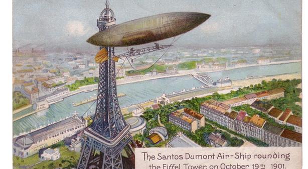 Tekening van Santos-Dumont's vlucht