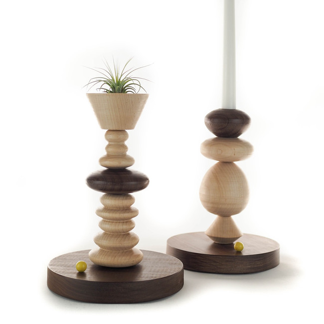 handmade wood turned candlestick and air plant holder natural finish