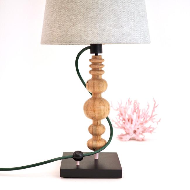 wormy maple desk lamp handmade by artist handmade custom Meg Morrison Design