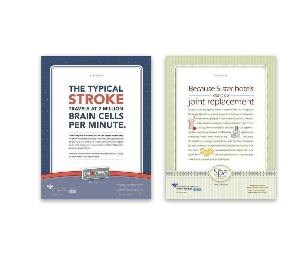 stroke and joint center print ads meg morrison design