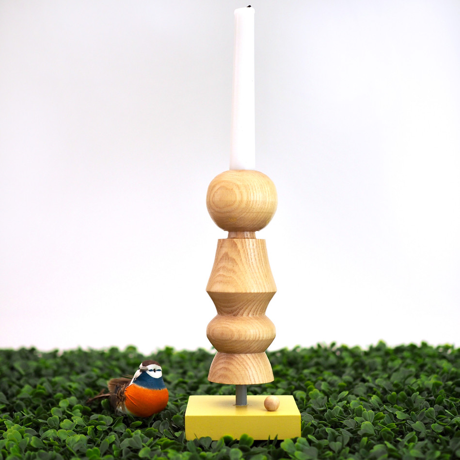 handmade wood turned candlestick painted yellow base