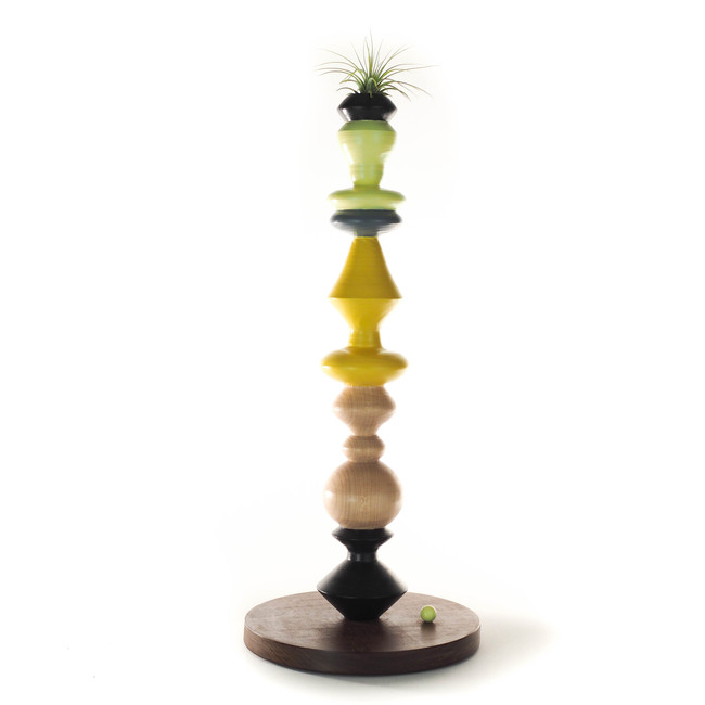 yellow grey and black with natural wood grain candle stick