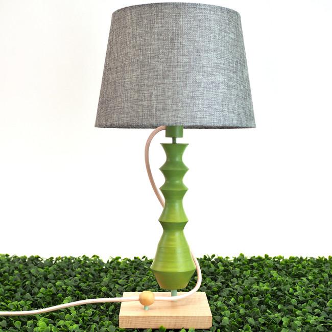 green and handmade custom Meg Morrison Design pink woodturning lamp for table