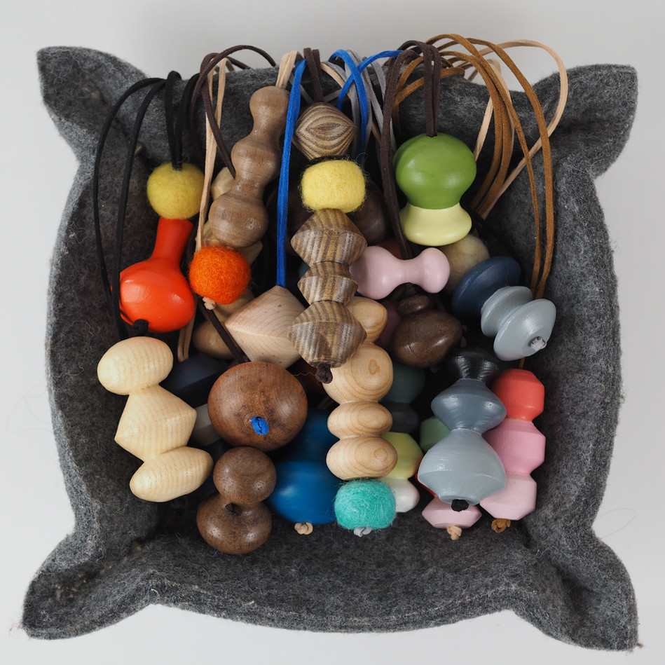 Cluster of handmade wood charms for purse necklace pendant lamp pull Meg Morrison Design