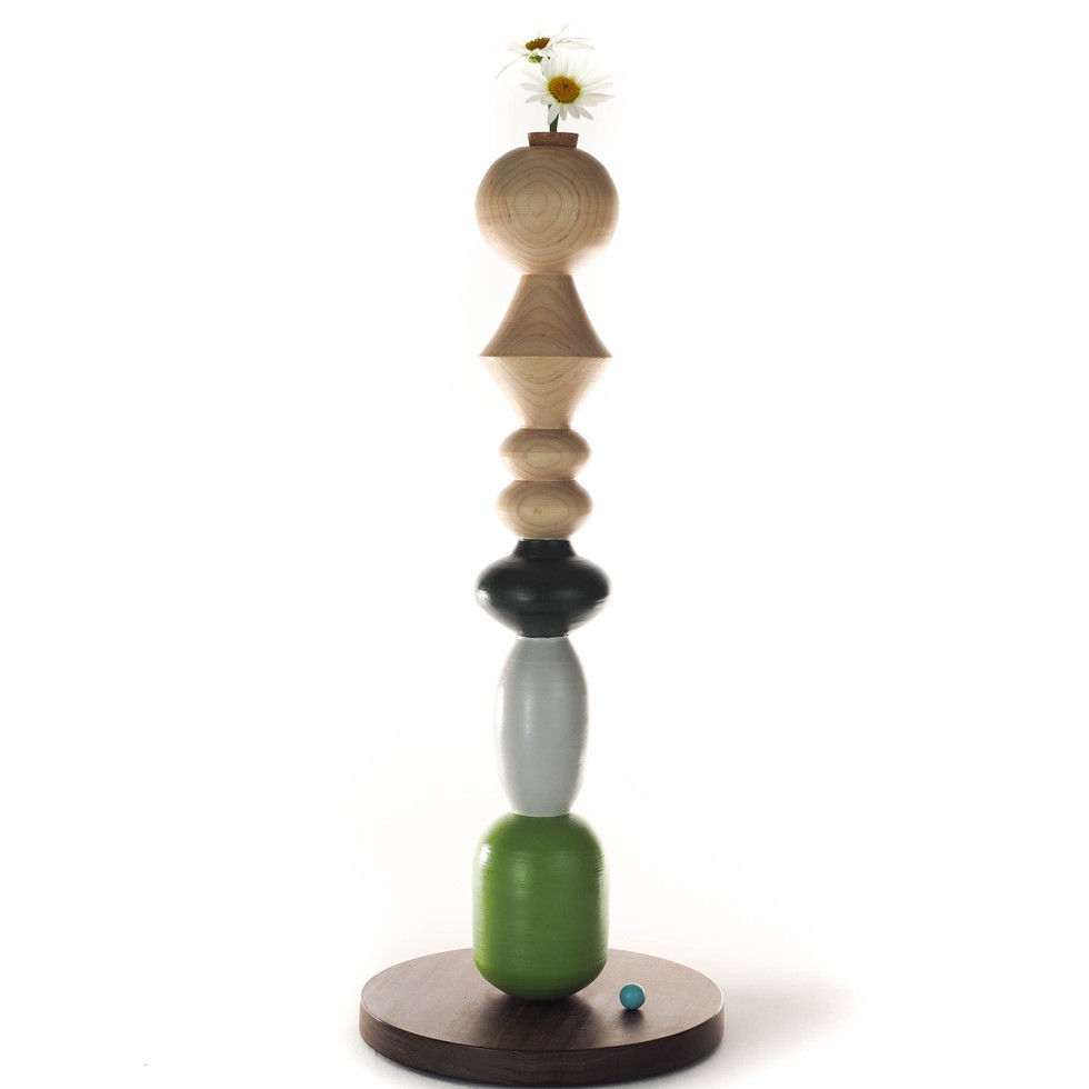 green and natural wood grain oversize candlestick hand made woodturning