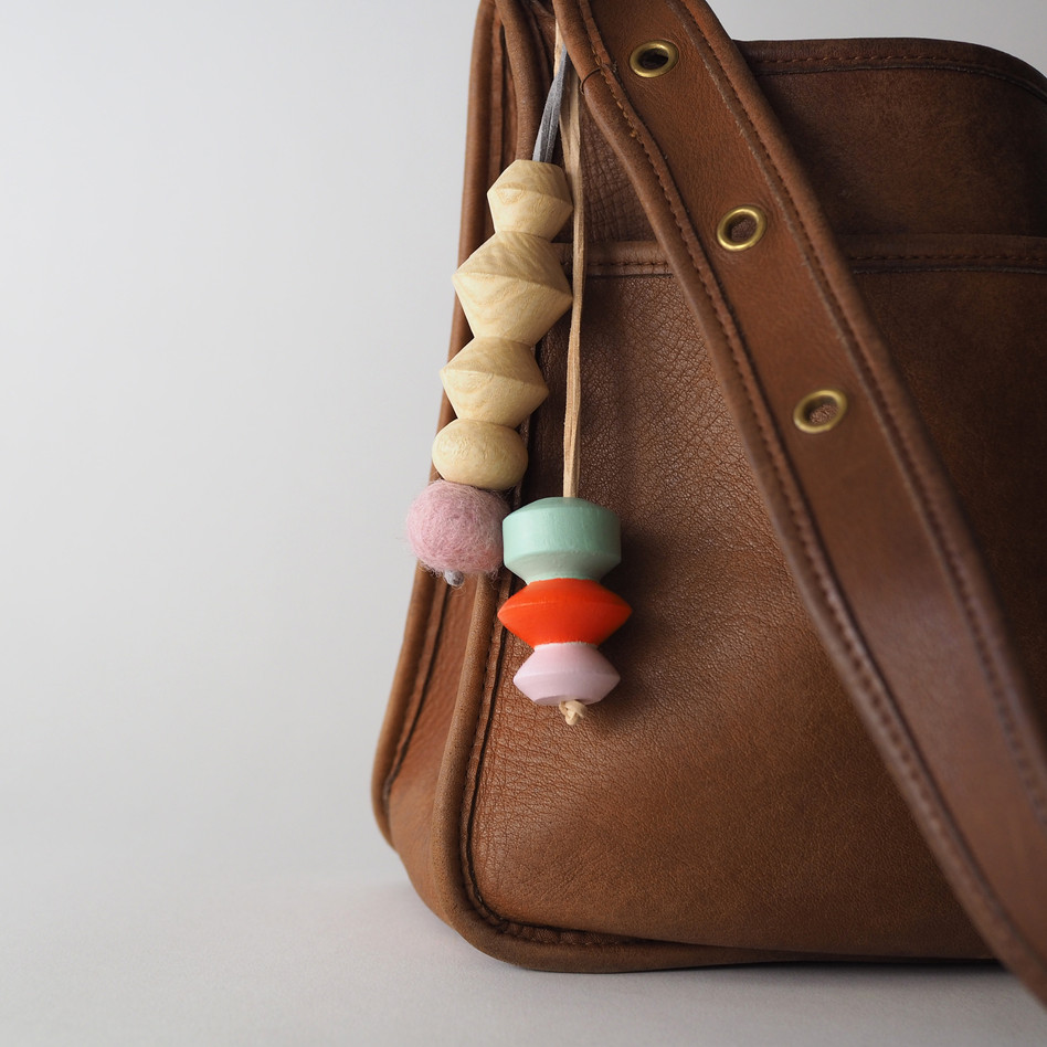Handmade wood charms for purse Meg Morrison Design
