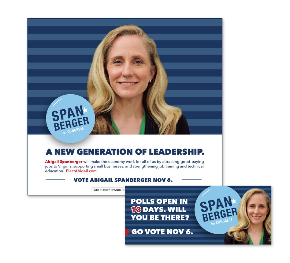 Print and outdoor campaign for Abigail Spanberger