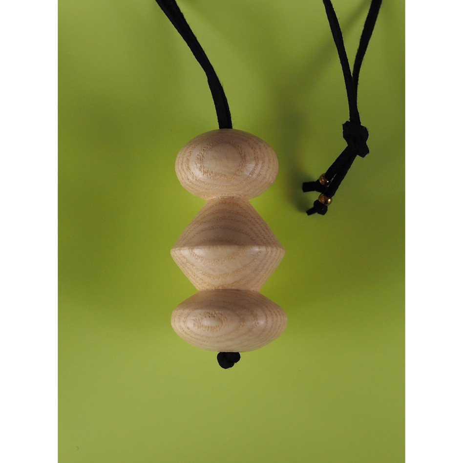 Handmade wood turned unique design pendant for necklace bag charm or lamp pull