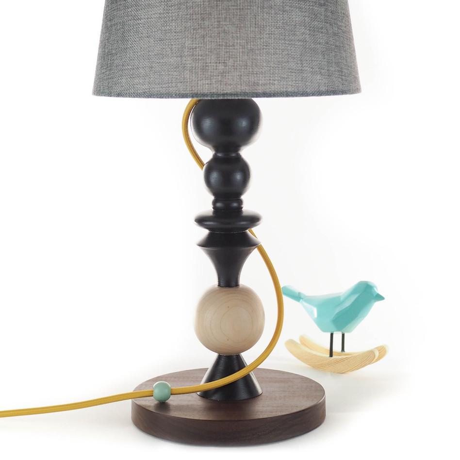 handturned handmake maple lamp with yellow cord black paint handmade custom Meg Morrison Design