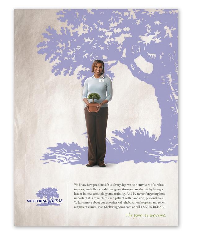 print ad for sheltering arms rehabilitation Meg Morrison Design