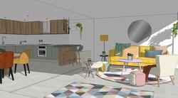 Render Design - Lounge, Dining & Kitchen