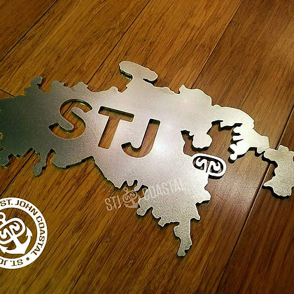 """Island Shape 12"""" w/ STJ letters"""