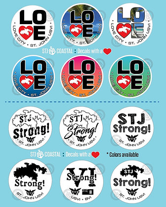 "St John Strong and LOVE 3"" decals"