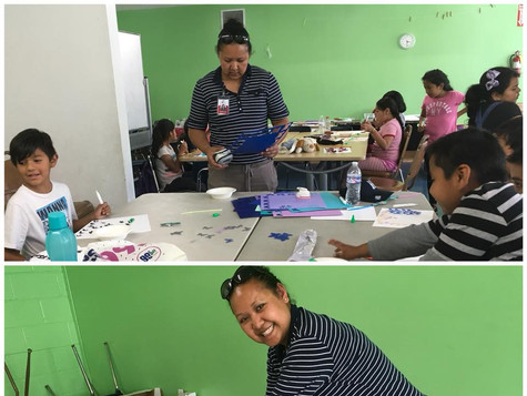Our Prevention Coordinator Rosalyn Son helping out with the arts and crafts at North Valley Caring Services