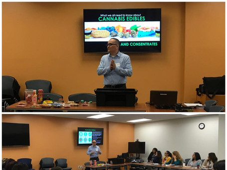 Our director Albert Melena presenting on the dangers of cannabis usage and edibles at the Child and Family Guidance Center at Northridge