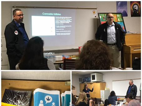 Our Neighborhood Specialist Bart Trevino (Left) and Program Director Albert Melena (Right) presenting the dangers and evidence based information of recreational drugs to parents at Serrania Ave Elementary School
