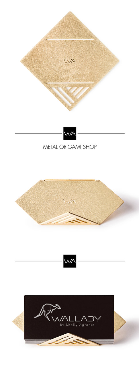Polly - brass business card stand