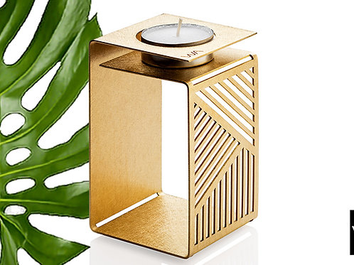 gold modern geometric origami candle holder. Gift from Israel. Independent designer