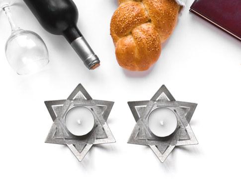 DAVIDUSH - Pair of Shabbat tea light holders