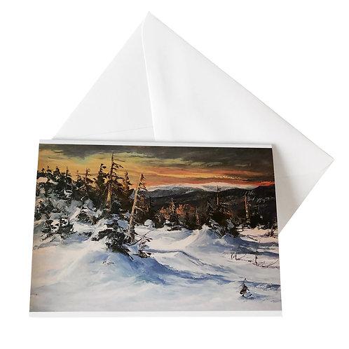 """Kunst-Grußkarte """"Ciel de février sur le sommet de la Gaspésie"""" Basque"""