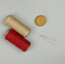 waxed thread, beeswax, needles