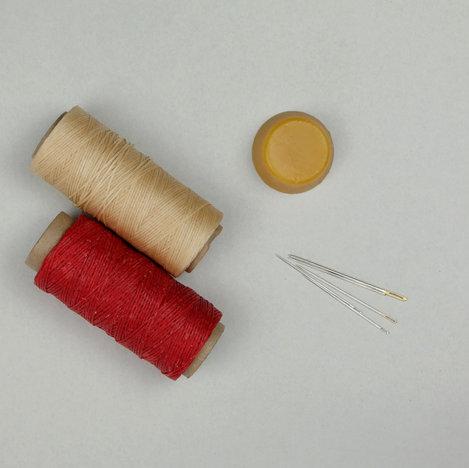 waxed thread, beeswax, needles