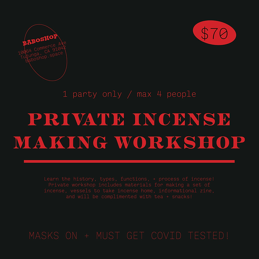 Private Incense Making Workshop (1 Party Only)