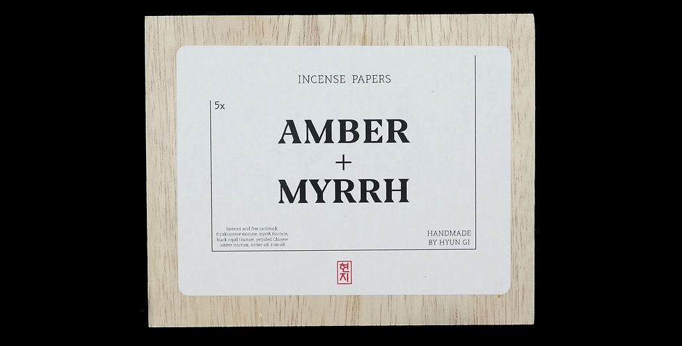 Amber + Myrrh Incense Papers