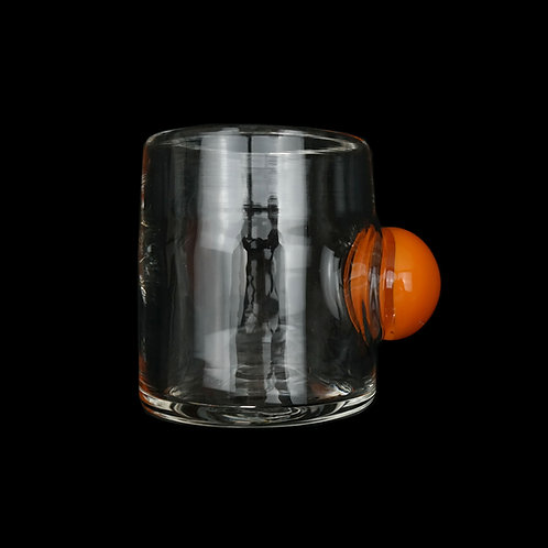 Sticky Glass: Bubble Cup in Clear with Orange Bubble