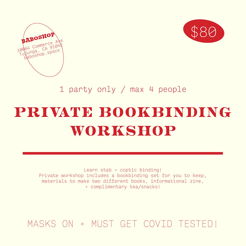 Private Bookbinding Workshop (1 Party Only)