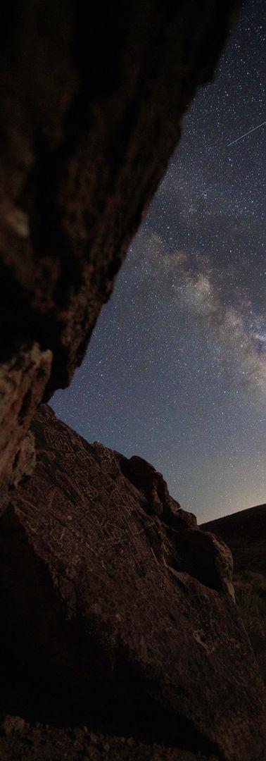 Petroglyphs Under the Milky Way