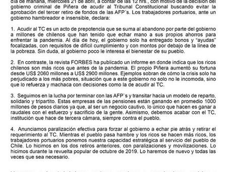 Los Ojos en Chile: Sindicato internacional de portuarios se suma a la causa chilena.