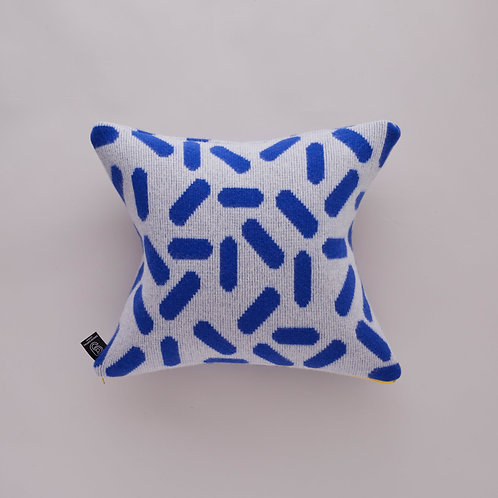 Tic-Tac Cushion in Grey and Blue with Yellow zip