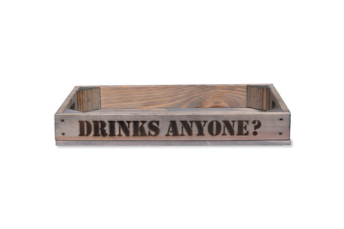 'Drinks Anyone' Wooden Tray