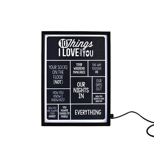 10 Things I Love About You Light Box