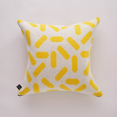 Tic-Tac Cushion in Grey and Yellow with Black zip