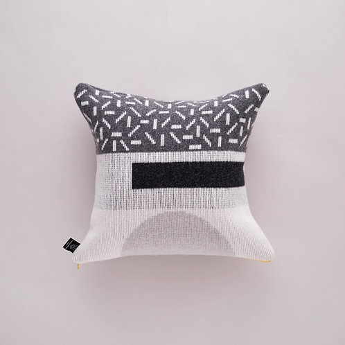 Forma Cushion in Greyscale with Yellow zip