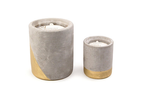 Amber and Smoke Urban Rectangle Candle in Concrete and Gold