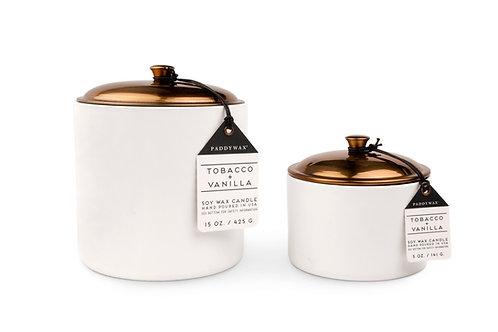 Tabacco & Vanilla Hygge Ceramic Candle in White