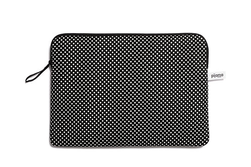 Laptop Zip Case 13inch in Black and White Dot