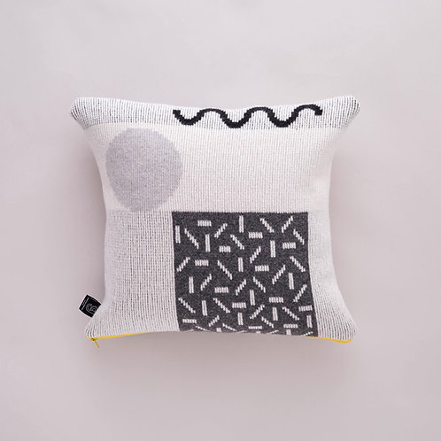 Etto Cushion in Greyscale with Yellow zip