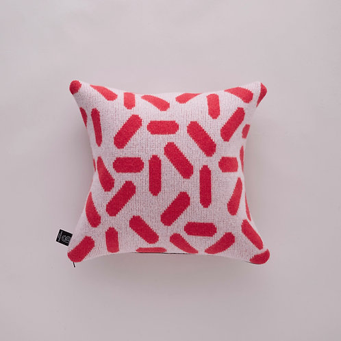 Tic-Tac Cushion in Grey and Red with Black zip