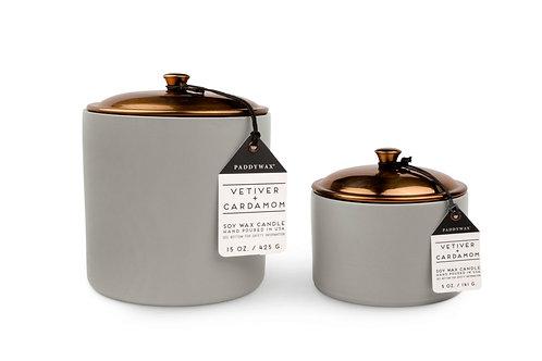 Vetiver & Cardamom Hygge Ceramic Candle in Grey