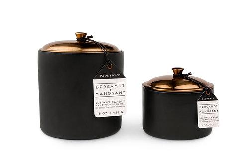 Bergamot & Mahogany Hygge  Ceramic candle in Black